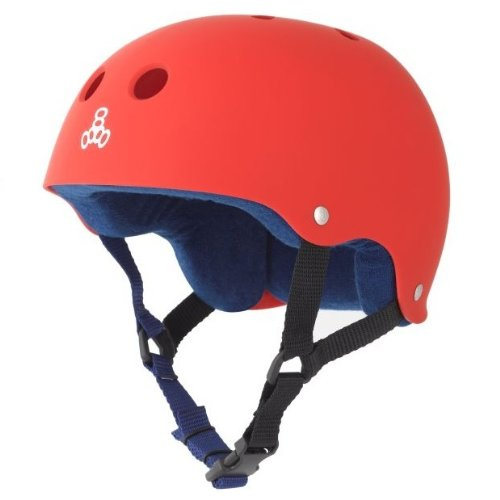 Triple Eight Sweatsaver Liner Skateboarding Helmet, Red Rubber, Large