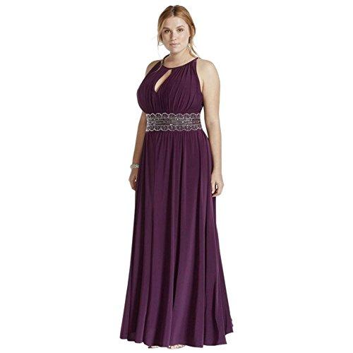 David\'s Bridal Sleeveless Keyhole Beaded Waist Plus Size Dress Style ...