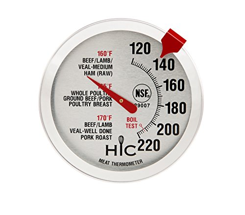 HIC Meat Poultry Ham Turkey Grill Thermometer, Oven Safe, Large 2-Inch Easy-Read Face, Stainless Steel Stem and Housing