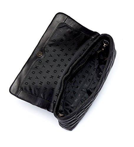 Borsa a spalla DKNY in pelle matelassè nera con impunture