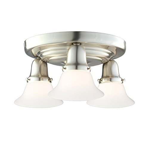 Edison Collection 3-Light Semi Flush - Satin Nickel Finish with Opal Matte Glass Shade (415 Edison Collection)