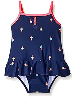 Baby Girls' One Piece Ice Cream Cone Swimsuit