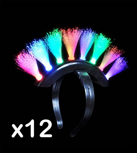 (LOT OF 12) Multicolored Fiber Optic LED Flashing Blinking Mohawk Headband RM2703