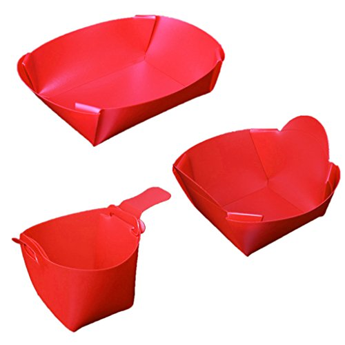 MagiDeal Portable Foldable Camping Tableware Set Lightweight Folding Bowl Plate Cup Travel Kit Chopping Board Red ()