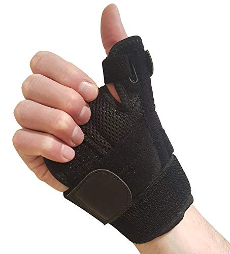 Thumb Brace with Wrist Support - Thumb Splint for Carpal Tunnel, Arthritis or Tendonitis Pain Relief. Thumb Stabilizer Fits Left or Right Hand. Thumb Spica Splint Immobilizer for Men or Womens Hands