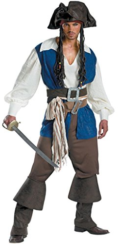 Men's Rogue Pirate Captain Jack Sparrow Deluxe Adult Costume (L) - Deluxe Adult Captain Jack Sparrow Costumes
