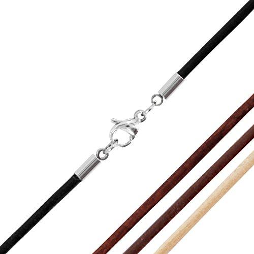 AURORIS Echtleder Kette 2 mm mit Karabinerverschluss aus Edelstahl Farbe / Länge wählbar - schwarz / 50 cm