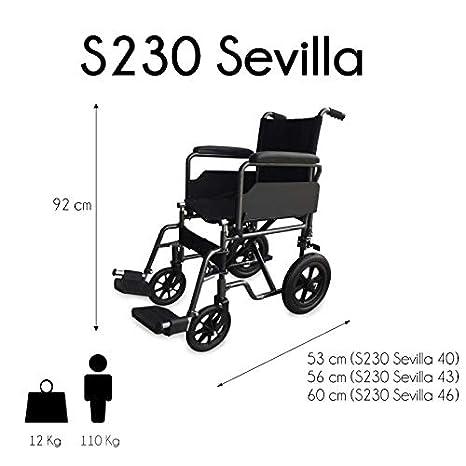 Silla de ruedas de tránsito, Plegable, Negra, S230 Sevilla, Mobiclinic