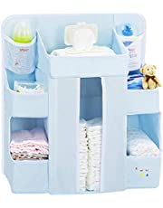 Diaper Caddy Organizer for Changing Table | Hanging Diaper Stacker for Nursery Organization | Crib Side Organizer | Newborn Baby Shower Gifts Blue