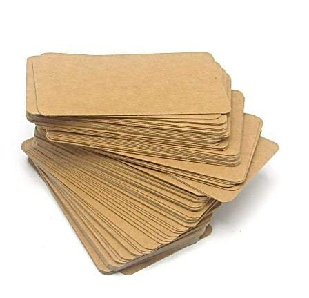 - Blank Kraft Paper Mini Cards 100 PCS In A Box - Message Card, Business Card - 1.75 x 3.2 Inch - Brown. By Mega Stationers