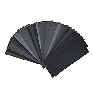DEDC 28 Pieces 120 to 3000 Grit Wet Dry Sandpaper Assortment 9x3.6Inch Abrasive Paper Sanding Sheets Set for Automotive Wood Furniture Finishing Polishing