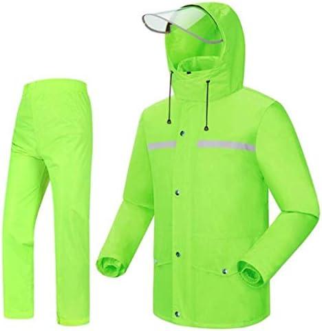 Hdhxt-防水レインコートセット 男性と女性の再利用可能なレインウェア(レインジャケットとレインパンツセット)大人フード付きオートバイゴルフ釣りハイキング レインウェア/メンズレインウェア