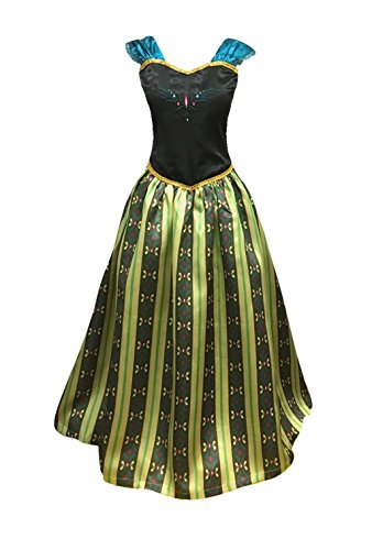 Adult Women Princess Elsa Anna Coronation Dress Costume (S Small, Olive Green) -