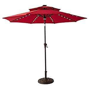 FLAME&SHADE 9 feet Solar Panel LED Lights Double Top Outdoor Patio Market Umbrella with Crank Lift, Push Button Tilt, Red