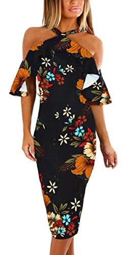 Da Al Spalla Stampa Floreale Sundress Di Incrociano Festa Qianqian au Della Sera Largo Si Donna Elegante Nero Abiti n4S7wFxWqR