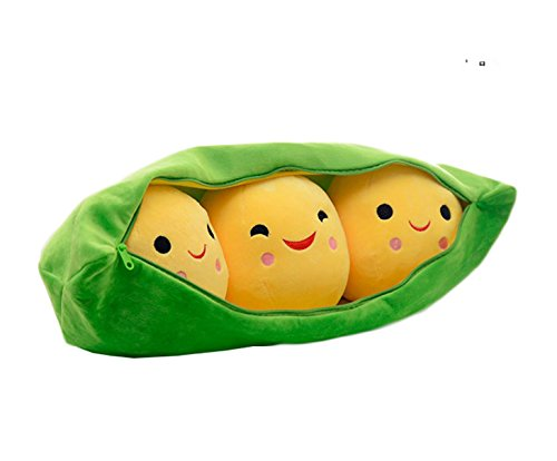 Special Life 3 Peas-in-a-Pod Plush Toy Doll Creative Stuffed Peapod Pea Throw Pillow, Green Bag with Yellow Peas, Zipper Closure Pod (L(23.6inches))