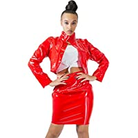 Sedrinuo Sexy 2 Piece Outfits Long Sleeve Light PU Top and Skirt Party Club Dress Sets