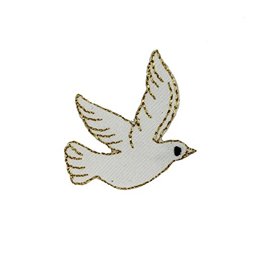 Dove Applique - ID #0623 Flying White Dove Peace Love Bird Embroidered Iron On Applique Patch