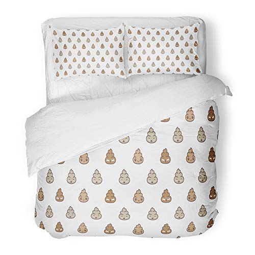 Emvency Decor Duvet Cover Set Full/Queen Size Brown Toilet Poo Cartoon Doodle Bath Bathroom Character Crap Cute Dirty Dung 3 Piece Brushed Microfiber Fabric Print Bedding Set Cover
