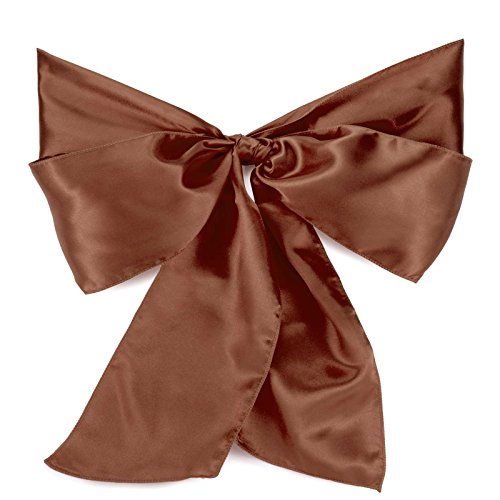 - Lann's Linens - 10 Elegant Satin Wedding/Party Chair Cover Sashes/Bows - Ribbon Tie Back Sash - Chocolate Brown