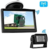 Emmako Digital Wireless Backup Camera 5'' Monitor System Truly Color for Truck/RV/Car/Trailer/Pickup IP69K Waterproof Rear/Front View Driving/Reversing Use Guide Lines On/Off