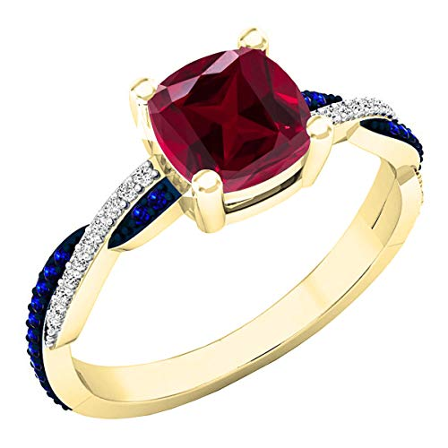 Dazzlingrock Collection 14K 6 MM Created Cushion Ruby & Round Blue Sapphire & Diamond Ring, Yellow Gold, Size 4.5