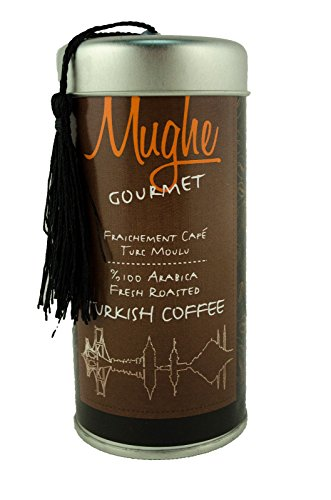 Luxury Ground Turkish Coffee 100% Arabica - Roasted in Wood Fire- Freshly Imported from Istanbul - Mughe Gourmet (Classic Roast Ground, 10 Oz)