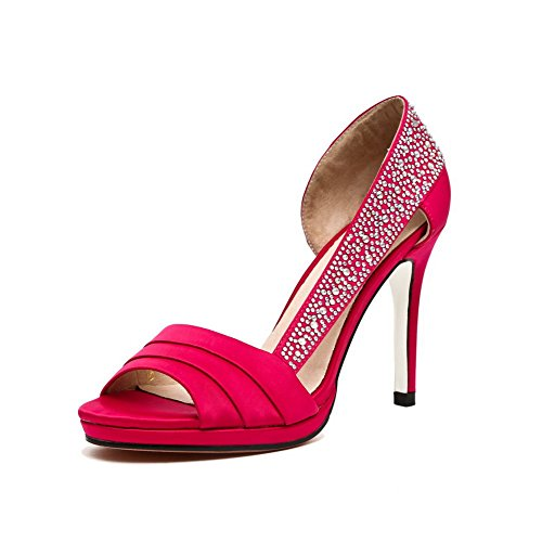 AmoonyFashion Womens Soft Material Peep-Toe High-Heels Pull-on Solid Sandals Red