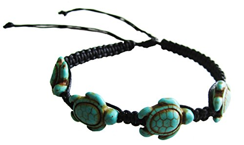 Turtle Hemp Bracelet - Black Bracelet with 4 Turquoise Turtles - Hawaiian Sea Turtle Bracelet