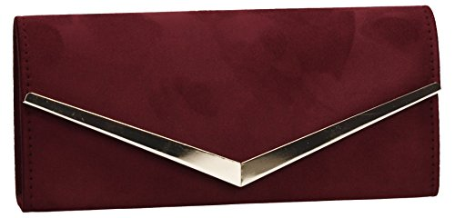 Talia Suede Envelope Womens Party Prom Wedding Ladies Clutch Bag - Burgundy