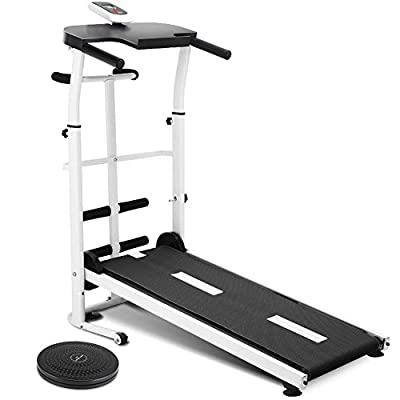 Folding Multifunctional Manual Treadmill Running Machine for Fitness Exercise with Sit-ups, Waist Exercise