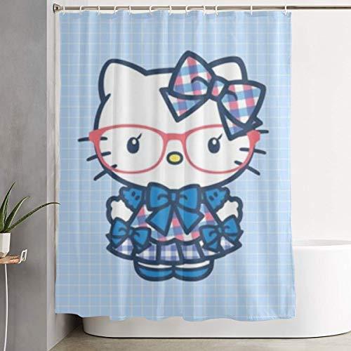 LYULIAN Blue Hello Kitty with Hook Stylish Shower Curtain Printing Waterproof Bathroom Curtain 60 X 72 Inches