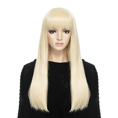 DAOTS Wig 24-Inch Straight Cosplay Synthetic Wig for Women (Light Blonde)]()