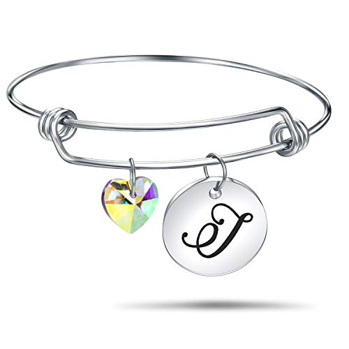 (4MEMORYS Initial Alphabet Bracelet Letter Engraved Stainless Steel Material with Heart Crystal Personalized Charm Bangel Jewelry (J-Silver))