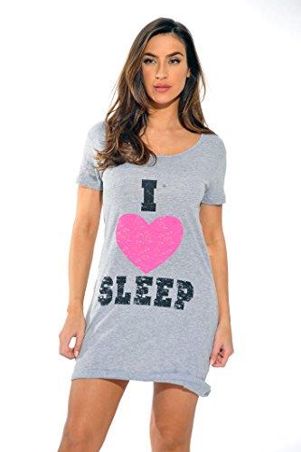 Just Love Sleep Dress for Women / Sleeping / Dorm Shirt / Nightshirt,Grey - I Heart Sleep,Small