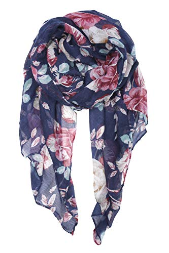 (YOUR SMILE Ladies/Women's Lightweight Floral Print/Solid Color mixture Shawl Scarf For Spring Summer season (Floral/Navy Pink))