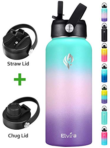 🥇 Elvira 32oz Vacuum Insulated Stainless Steel Water Bottle with Straw & Spout Lids