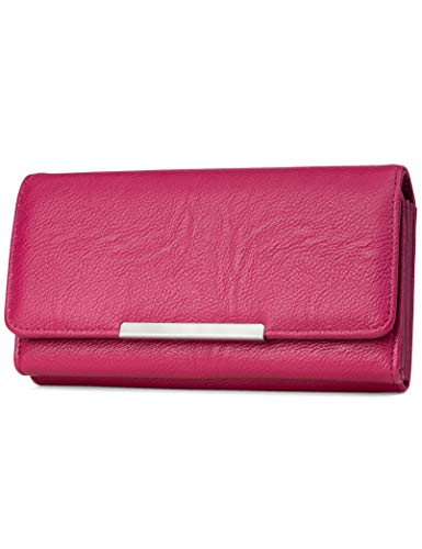 Mundi File Master Womens RFID Blocking Wallet Clutch Organizer With Change Pocket (One Size, Pink) - Bi Fold Snap