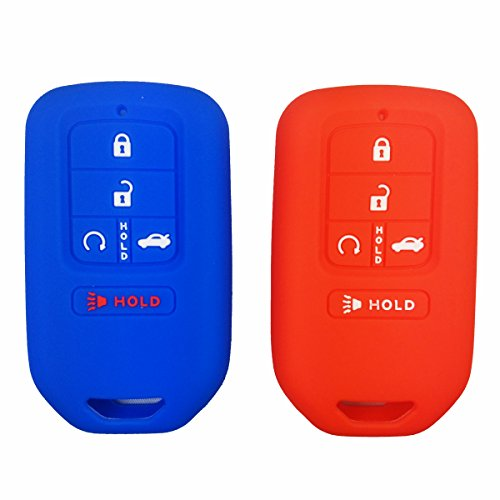 Coolbestda 2Pcs Silicone Key Fob Cover Protector Skin Remote Jacket Bag for 2018 2017 2016 2015 Honda Accord Civic CR-V CRV Pilot EX EX-L Touring Premium