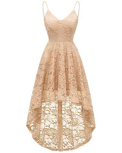 Bridesmay Women's V-Neck Adjustable Spaghetti Straps High Low Cocktail Party Bridesmaid Floral Lace Dress Champagne L ()