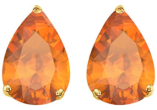 - Simulated Orange Citrine Pear Shape Stud Earrings In 14K Yellow Gold Over Sterling Silver (5 Ct)