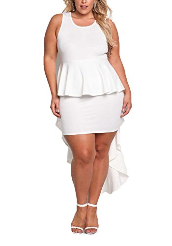 Debshops Womens [Plus Size] Fashionable Peplum Ruffle Hi-Lo Sleeveless Bodycon Cocktail Party Prom Evening Sexy Dres