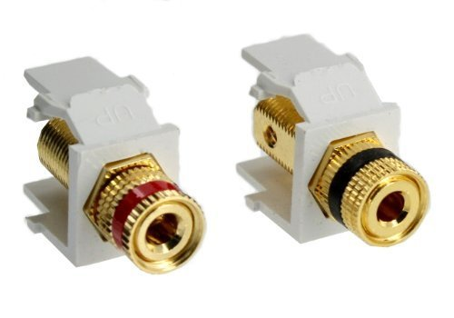 Quickport Snap In - Leviton 40833-W QuickPort Snap-In Binding Post, Pair - White