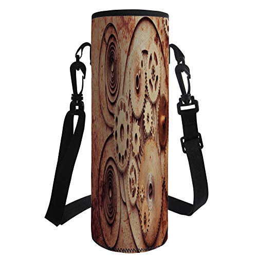 iPrint Water Bottle Sleeve Neoprene Bottle Cover,Copper,Mechanical Clocks Details Old Rusty Look Backdrop Gears Steampunk Design Decorative,Dark Orange Peach,Fit for Most of Water Bottles by iPrint