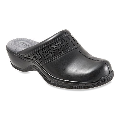 SoftWalk Women's Abby Laser Black Full Grain Nappa Clog/Mule 6.5 N (AA)