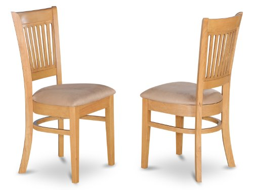 East West Furniture VAC-OAK-C Microfiber Upholstered Seat Dining Chairs, Oak Finish, Set of - Chair Upholstered Back Slat