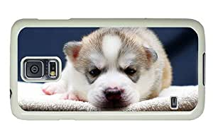 Hipster underwater Samsung Galaxy S5 Case adorable husky pup PC White for Samsung S5