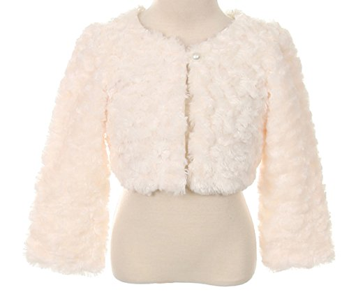 Cuddle fur bolero jacket pearl button Wedding Winter Match Flower Girls Dress Ivory 2-12 (Jackets Taupe Rose)