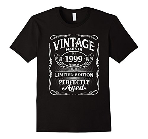 Mens Vintage Premium Made In 1999 T-Shirt 19th Birthday Gift Large Black