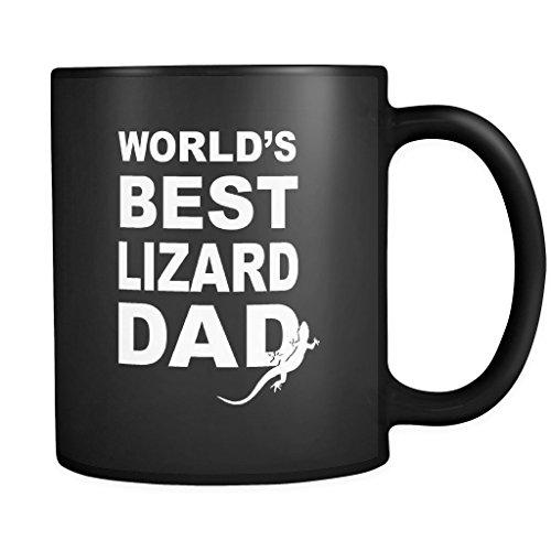 World's Best Lizard Dad Mug in Black - Lizard Coffee Mug